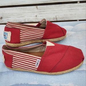 Toms Classic Univ Red Stripe Espadrille Flats Sz 6